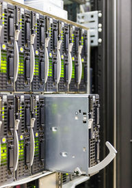 stock photo of cat5  - server chassis the platform virtualization in the data center server rack and failed blade server - JPG