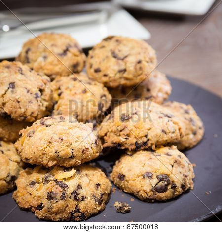 Cookies With Raisins On Wooden Table