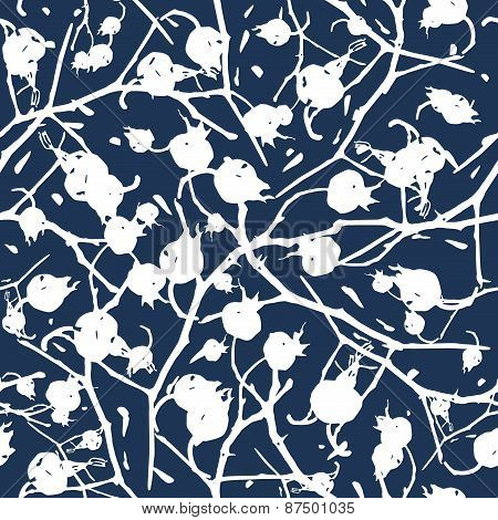 Rosehip Branches With Berries Seamless Pattern