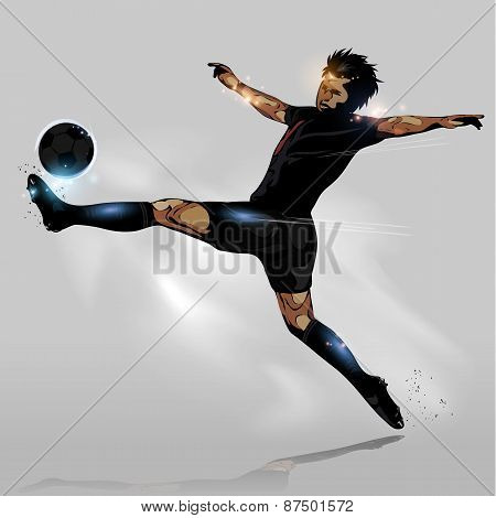 Abstract Soccer Touching Ball