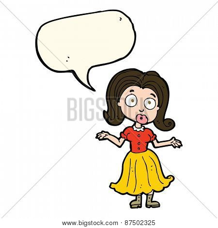 cartoon confused girl with speech bubble
