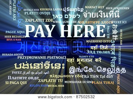 Background concept wordcloud multilanguage international many language illustration of pay here glowing light