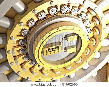 3d image of classic vault door