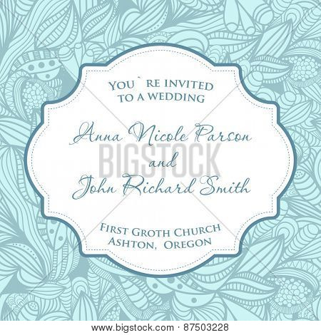 Wedding invitation card with blue seamless pattern.
