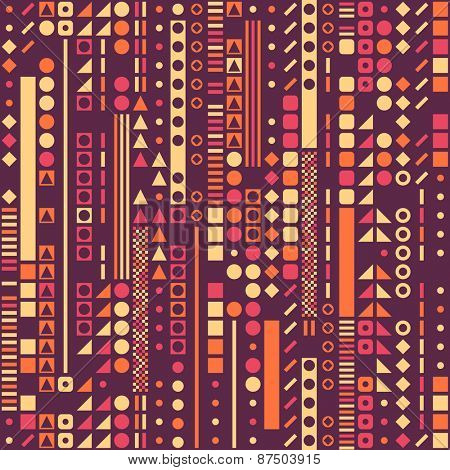 Seamless Circle, Square and Triangle Pattern. Vector Background
