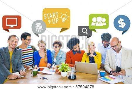 Diversity Business People Casual Start up Discussion Meeting Concept