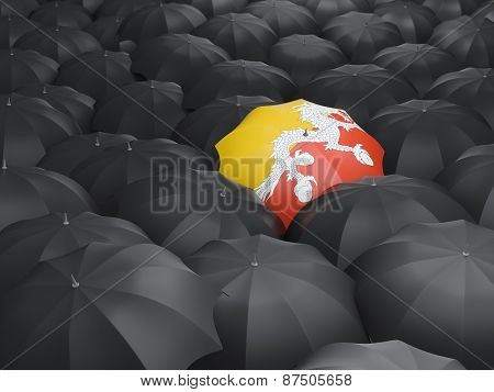 Umbrella With Flag Of Bhutan