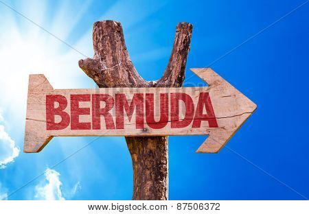 Bermuda wooden sign with sky background