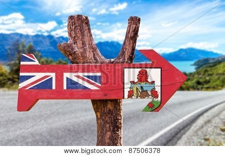 Bermuda Flag wooden sign with road background