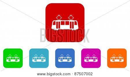 tramway vector icon set