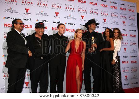 LOS ANGELES - SEP 27:  Tito Larriva, Danny Trejo, Daryl Sabara, Alexa Vega, Robert Rodriguez, Rosario Dawson, Jessica Alba at the 2013 ALMA Awards - Press Roomon September 27, 2013 in Pasadena, CA
