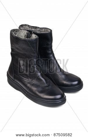 Pair Of Black Leather Boots For Men On A White Background