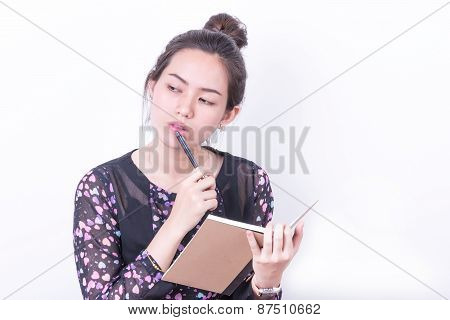 Portrait Business Woman Taking Notebook On White Background