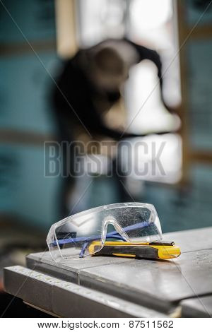 Protective Glasses And Utility Knife