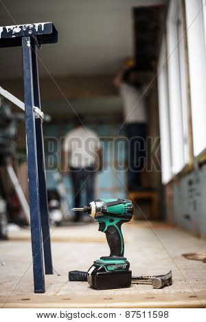 Battery Drill On The Floor