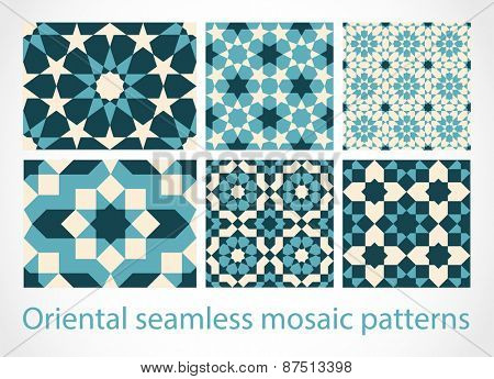 Oriental seamless mosaic patterns