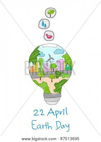 illustration of save energy concept for happy future