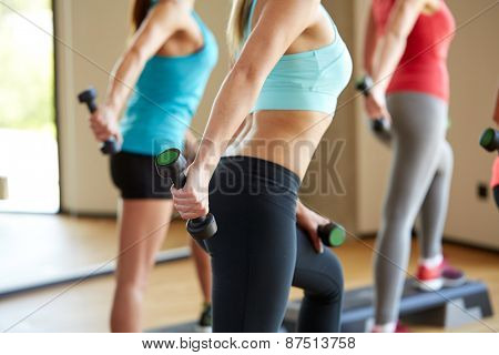 fitness, sport, training, people and lifestyle concept - group of women working out with dumbbells and steppers flexing muscles in gym