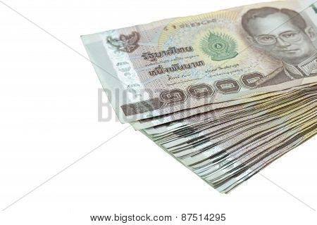 Close Up Thai Money In One Thousand Type Banknotes