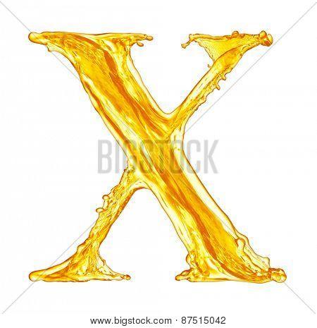 One letter of orange juice splash alphabet
