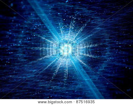 Blue Glowing Neutron Star In Space