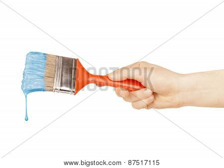 Brush In Hand Isolated White Background