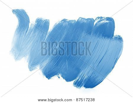 Blue Trace Of Paint Isolated On White