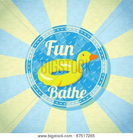Summer fun sea rubber duck. Vector