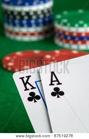 A poker hand of ace king