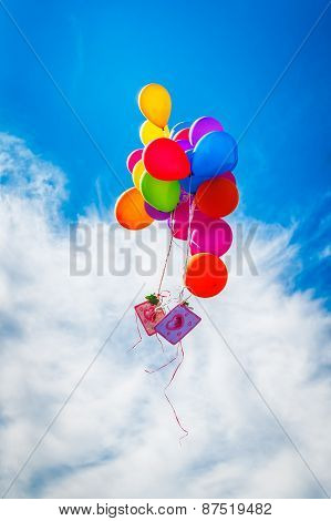colorful balloon on blue sky
