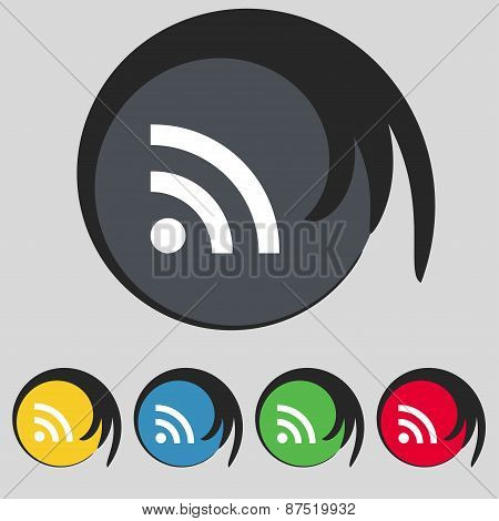 Wifi, Wi-fi, Wireless Network Icon Sign. Symbol On Five Colored Buttons. Vector