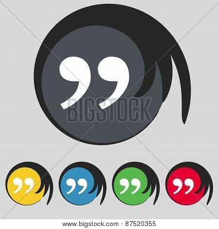 Icon Sign. Symbol On Five Colored Buttons. Vector