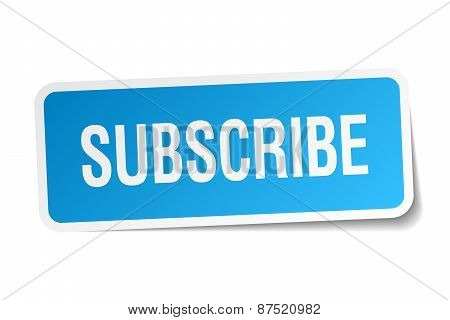 Subscribe Blue Square Sticker Isolated On White