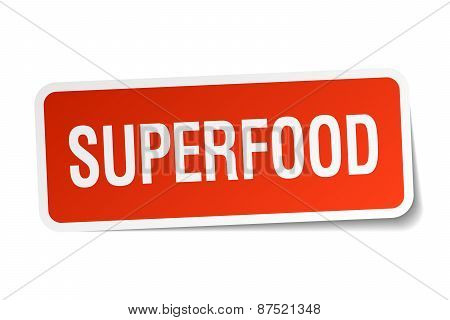 Superfood Red Square Sticker Isolated On White