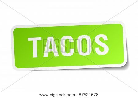 Tacos Green Square Sticker On White Background