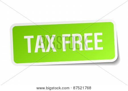 Tax Free Green Square Sticker On White Background