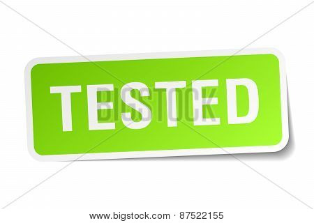 Tested Green Square Sticker On White Background