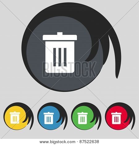 Recycle Bin, Reuse Or Reduce Icon Sign. Symbol On Five Colored Buttons. Vector