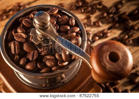 Vintage Manual Coffee Grinder With Coffee Beans