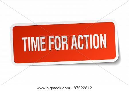 Time For Action Red Square Sticker Isolated On White