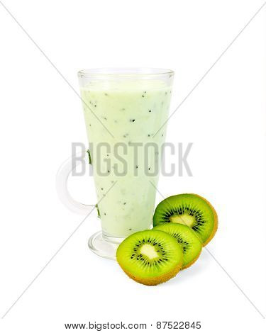 Milkshake with ripe kiwi