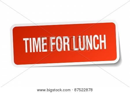 Time For Lunch Red Square Sticker Isolated On White