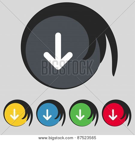 Arrow Down, Download, Load, Backup Icon Sign. Symbol On Five Colored Buttons. Vector