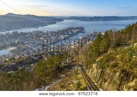 Aerial View Of Bergen In A Sunny Day