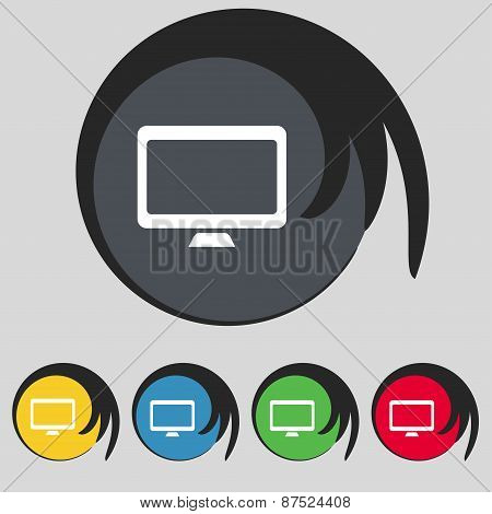 Computer Widescreen Monitor Icon Sign. Symbol On Five Colored Buttons. Vector