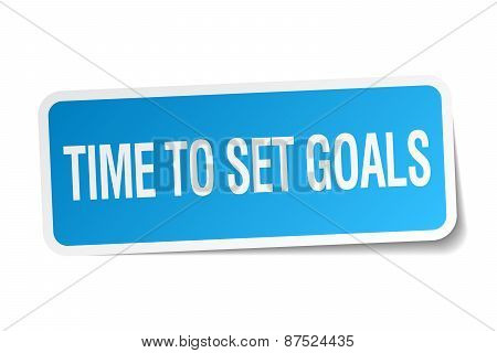 Time To Set Goals Blue Square Sticker Isolated On White