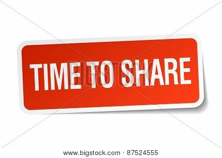 Time To Share Red Square Sticker Isolated On White