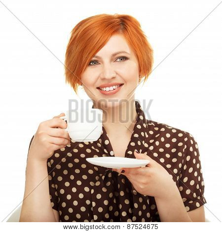 Smiling Young Woman Drinking From A Cup