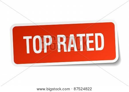 Top Rated Red Square Sticker Isolated On White