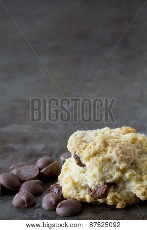 Chocolate Chip Scones on a Tray with Copy Space